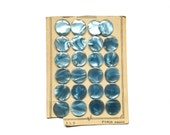 4 Pearly Blue Buttons, Vintage Button, French Button