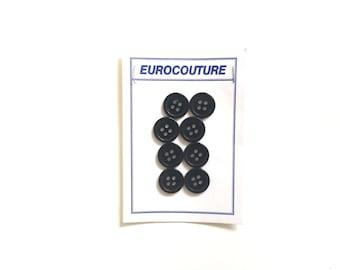 Black Buttons, 8 Vintage Buttons