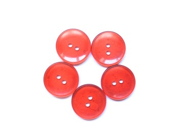 5 Red Buttons, Transparent, Vintage