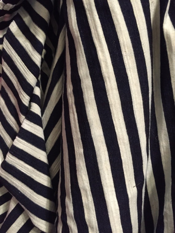 "Navy and Cream 1/2"" Stripe Slub Jersey Cotton Lycra Knit (One yard increments)"