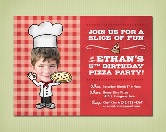 digital pizza party birthday invite
