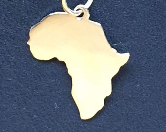 """Africa necklace  . 14K Solid Gold.1/2"""" tall"""