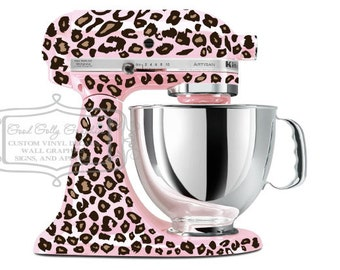 Kitchen mixer vinyl decal TWO tone LEOPARD decal CHEETAH print decal