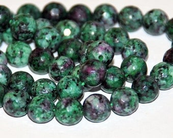 Half Strand 8mm Faceted Ruby Zoisite Gemstone Beads - 23 beads