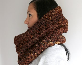 Wool Blend  Sequoia Browns Circle Scarf, Spicy Brown Neck Cozy, Crochet Neck Warmer, Winter Fashion Accessories