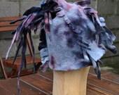 SALE - Felted hat, cap, wool, felting, gray, black, burgundy, gift, fibre art, irregular