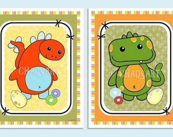 "M2M CoCaLo ""DINOS at PLAY"" Collection, Dinosaur Prints, Cute & Colorful Dinosaur Art, Nursery Decor, Children's Art, Baby Room Decor"