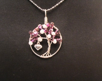 Purple and Pearl Drop Tree of Life Necklace