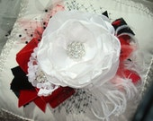 White, Red and Black Flower Headband, Baby Headband, Accessories, Feather Headband, Christmas Headband, Couture Headband