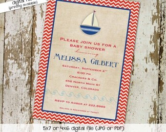 nautical baby shower invitation baby boy sail boat sprinkle diaper baptism couples coed christening bash (item 1252) shabby chic invitations