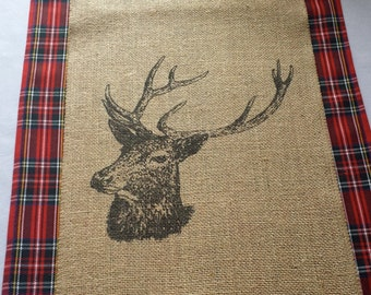 Stag burlap table runner - perfect for layering ower my tartan table runners!