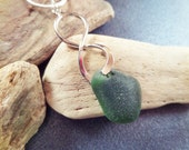Dark Green Sea Glass Necklace from Scotland with Unique Twist Design, Silver Tone Infinity Knot Pendant, Beach Glass, Scottish Jewelry