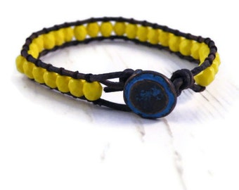 Lemon Yellow Opaque Czech Natural Grey Leather Wrap Bracelet with Turquoise bronze Button/ Boho Modern Chic/ Ready to Ship