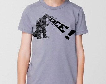 kids godzilla dinosaur science shirt- american apparel slate gray, available in 2, 4, 6, 8, 10, 12 year old sizes Worldwide Shipping