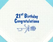 21st Birthday Gents Quality Cotton Handkerchief with Screen Printed 21st Birthday Key Print in Mid Royal Blue