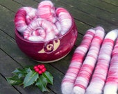 Sale, spinning fibre, hand carded rolags, festive spinning fibre, puni style rolags, punis, blended fibre