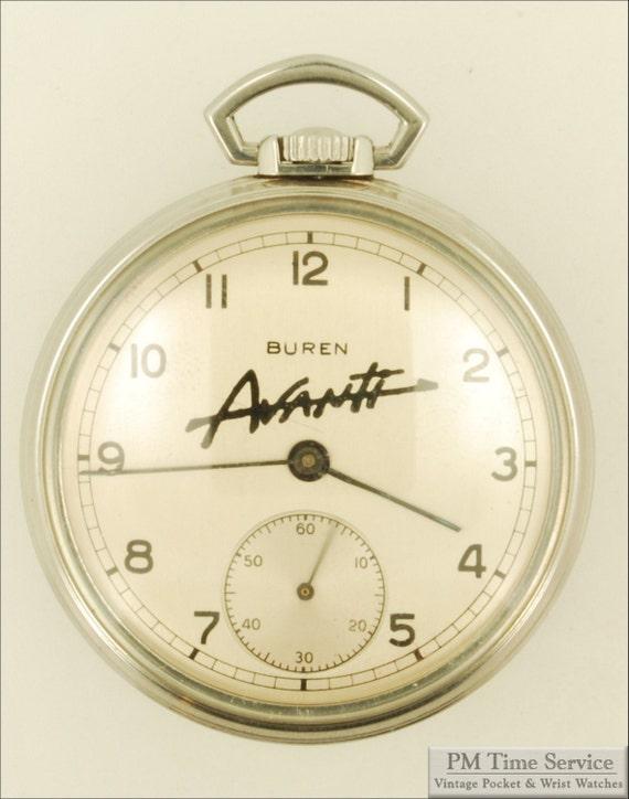 Buren vintage pocket watch, 12 Size, 7 Jewels, stainless steel case, Avanti (Studebaker automobile) advertising