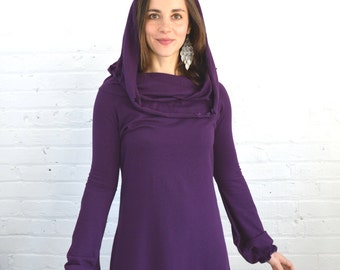 On Sale!!! XS Cowl Neck Dress in Plum Extra Small Purple
