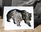 Grizzly Bear - Rustic Holiday Nature Card, 100% Recycled Paper - Bark Animal Silhouette Art