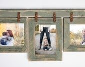"""2"""" Barnwood Collage Sage Frame 3) 8x10 Multi Opening Frame-Rustic Picture Frames-Reclaimed-Cottage Chic-Collage Frame"""