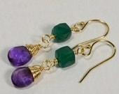 Amethyst and Green Onyx Gemstone Earrings 14 K Gold filled Earrings