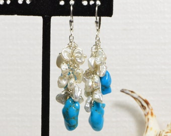 Sleeping Beauty Turquoise Pearl Sterling Silver Earrings . Dangle Earrings. Turquoise Sterling Silver Earrings. by Trendydeals