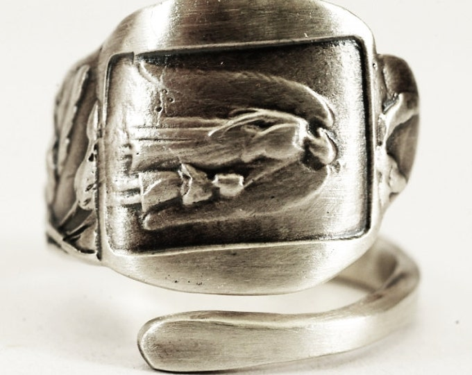 Guardian Angel Ring, Sterling Silver Spoon Ring, Olive Tree Olive Branch, Gardian Angel, Guardian Angel Jewelry, Adjustable Ring Size (4392)