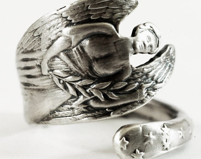 Angel Ring, Sterling Silver Spoon Ring, Olive Tree, Olive Branch, Gardian Angel, Guardian Angel Jewelry, Adjustable Ring, Memorial Ring, 405