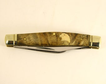 Rough Rider Stockman Knife With Maple Wood Eagle Head Inlay