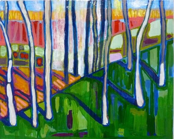 art landscape, Colorful Forest 8 x 10 x 2 original acrylic painting, ABSTRACT landscape,  landscape painting, colorado landscape, colorado