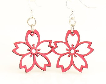 Cherry Blossoms - Wood Earrings