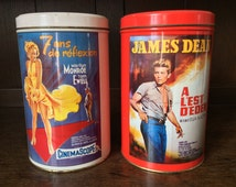 Vintage French James Dean and Marilyn Monroe Movie Film Tins circa 1980's / English Shop
