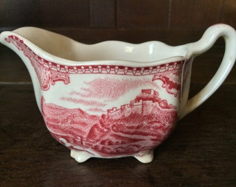 Vintage English Small Red and White Milk Creamer Jug Pitcher Nottingham Castle circa 1950's / English Shop
