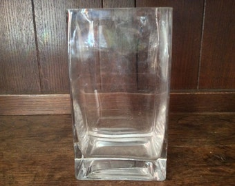 Vintage English Heavy Square Oblong Glass Vase circa 1970's / English Shop