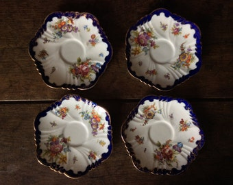 Vintage French Hexagonal Blue White Set of 4 Fancy Saucers Plates circa 1940's / English Shop