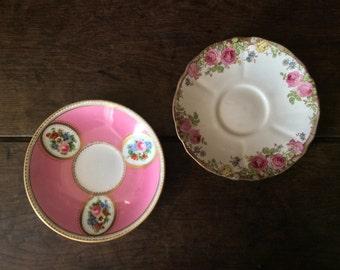 Vintage English Rose Pink 2 Fancy Saucers Plates circa 1930's / English Shop
