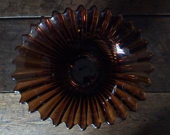 Vintage English Beautiful Brown Glass Stylish Retro Vase Pot Jar circa 1950-60's / English Shop