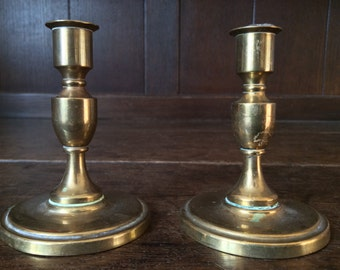 Vintage English Brass Candlestick Candle Holder Little Pair circa 1940-50's / English Shop
