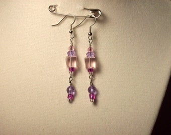 small pink square glass bead double dangle earrings