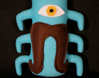 MINI MONSTER Wilbur in Blue with a Brown Mustache