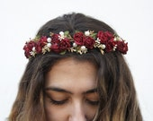 Burgundy Red Rose and Pearl Flower Crown, Red Flower Crown, Floral Crown, Bridal, Rose Headband, Rose Crown, Marsala, Red, Hair Accessory