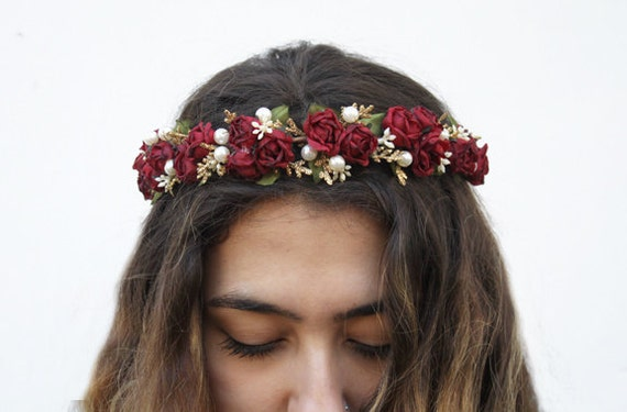 Burgundy Red Rose And Pearl Flower Crown Red Flower Crown