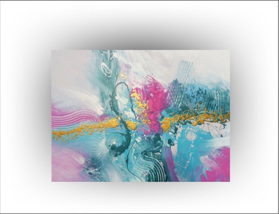 Original Abstract Painting  Turquoise Pink Gold Aqua Painting - Honesty - 30 x 40 - Skye Taylor