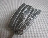 3 Yards Silver Glitter Ribbon 3/8 inch - 17