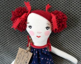 Handmade Red Hair Rag Doll