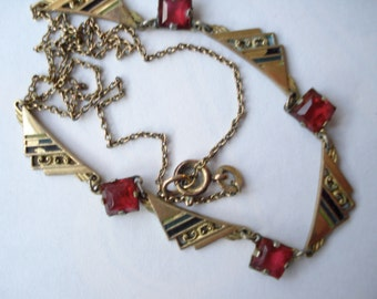 Art Deco Necklace Rg Enamel and Red Rhinestones 1920's 1930's