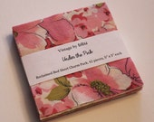 "Pink Vintage Sheet Fabric Charm Pack - 42 pieces, 5"" x 5"". ""Under the Pink"" theme."