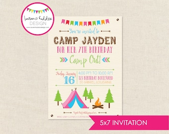 Girl Camping Birthday Invitation, Girl Camping Birthday, Girl Camping Printables, Girl Camping Birthday Decorations, Lauren Haddox Designs