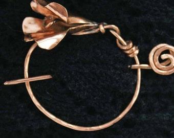 Shawl Pin, Copper Lily Shawl Pin, Scarf pin, Bent Spoon Jewelry