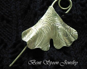 Shawl Pin, Golden Brass Embossed Gingko Leaf, Shawl pin, Scarf Pin, Bent Spoon Jewelry